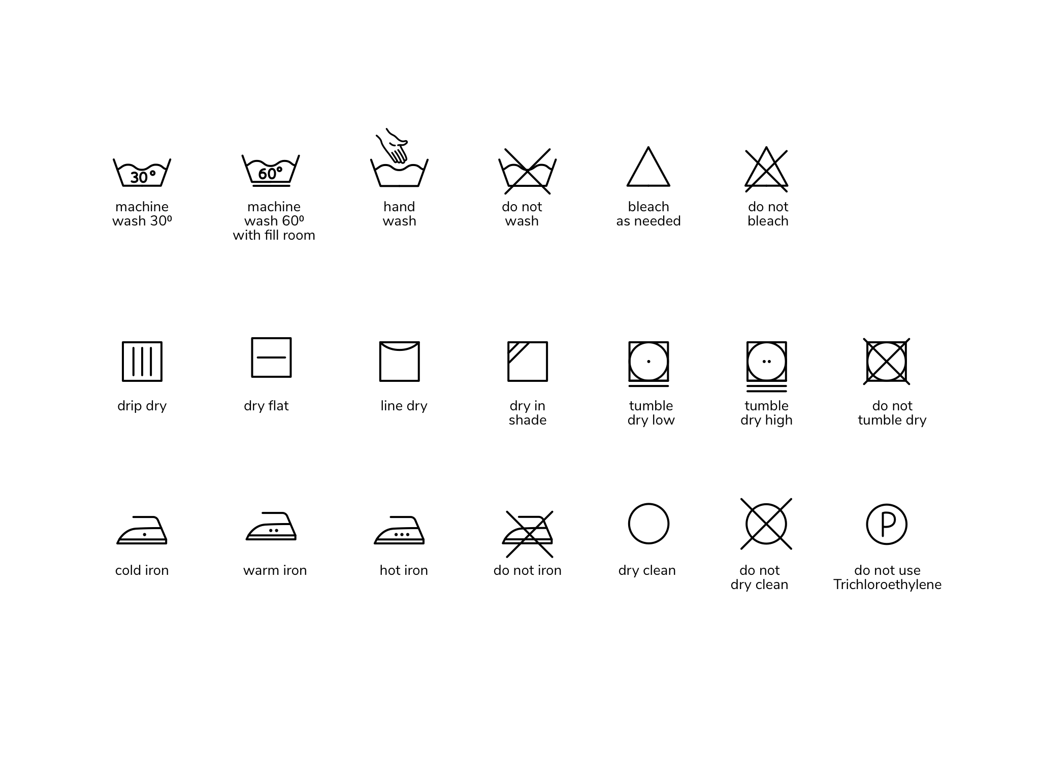 Washing Symbols & Wash Care Guide For Cotton & Pure Linen
